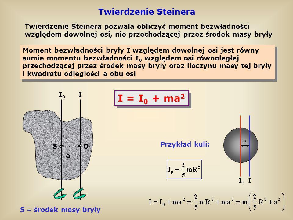 Twierdzenie Steinera Twierdzenie Steinera pozwala obliczyć moment bezwładności względem dowolnej osi, nie przechodzącej przez środek masy bryły Moment