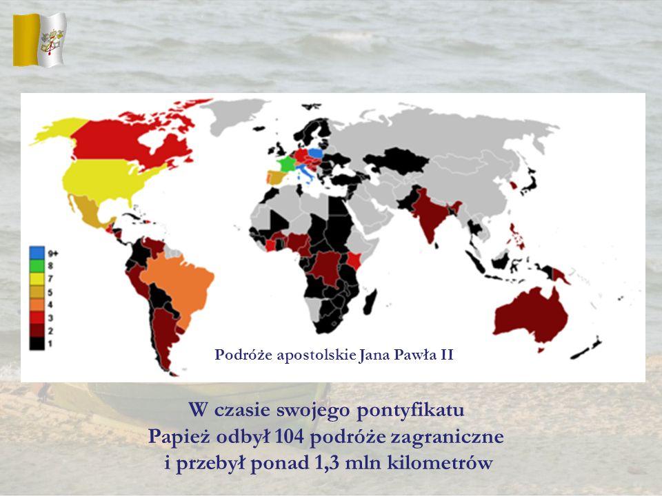 W czasie swojego pontyfikatu Papież odbył 104 podróże zagraniczne i przebył ponad 1,3 mln kilometrów Podróże apostolskie Jana Pawła II