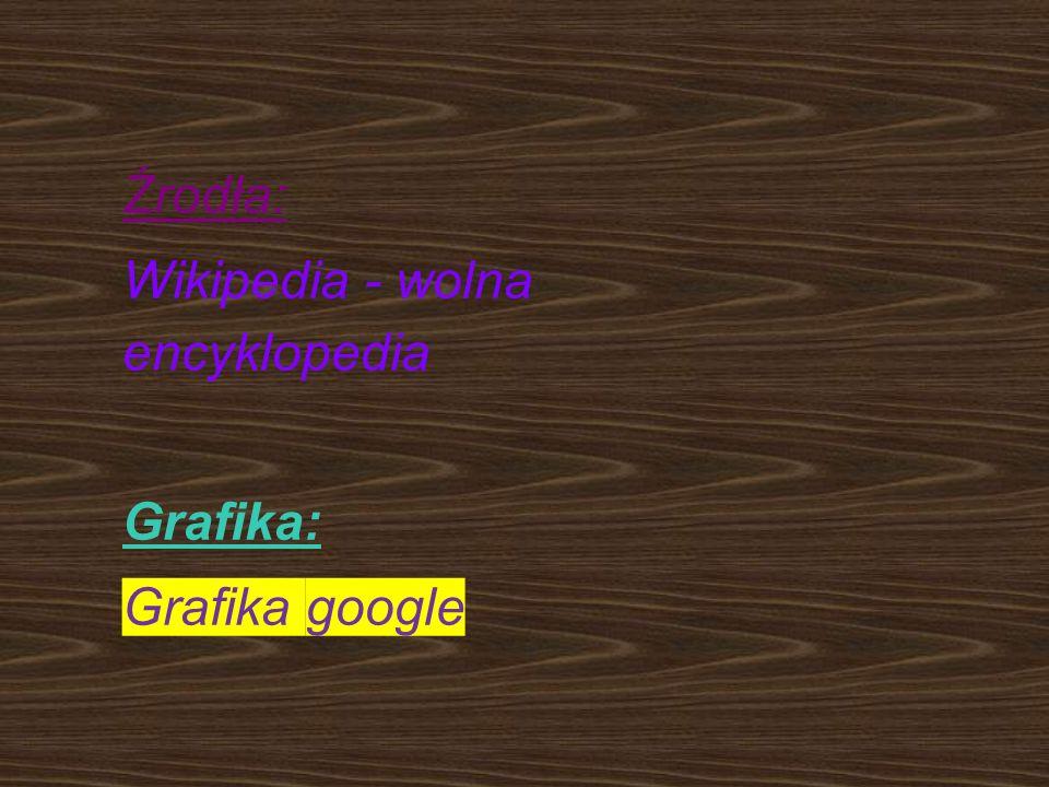 Źrodła: Wikipedia - wolna encyklopedia Grafika: Grafika google