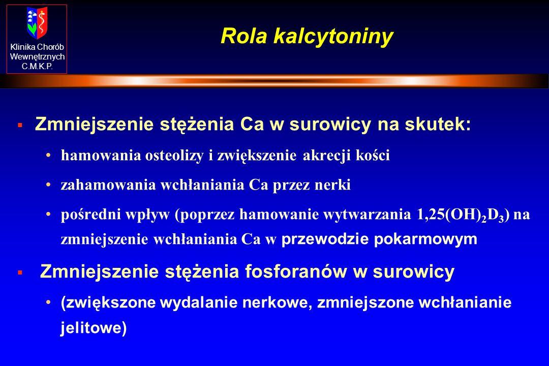 Klinika Chorób Wewnętrznych C.M.K.P. Efekty biologiczne wzrostu sekrecji parathormonu [PTH (1-84)] Ca 2+ - stężenie wapnia w osoczu; Cl Ca - klirens n