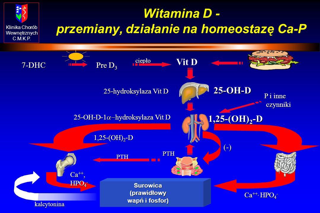 Klinika Chorób Wewnętrznych C.M.K.P. Rola kalcytoniny Zmniejszenie stężenia Ca w surowicy na skutek: hamowania osteolizy i zwiększenie akrecji kości z
