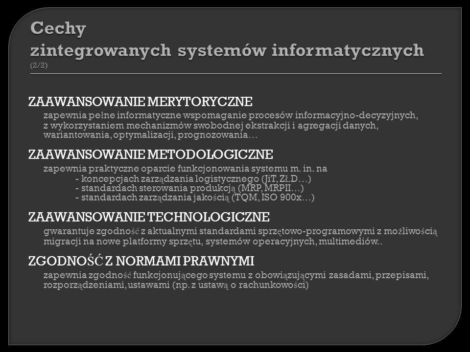 ZAAWANSOWANIE MERYTORYCZNE zapewnia pe ł ne informatyczne wspomaganie procesów informacyjno-decyzyjnych, z wykorzystaniem mechanizmów swobodnej ekstrakcji i agregacji danych, wariantowania, optymalizacji, prognozowania… ZAAWANSOWANIE METODOLOGICZNE zapewnia praktyczne oparcie funkcjonowania systemu m.
