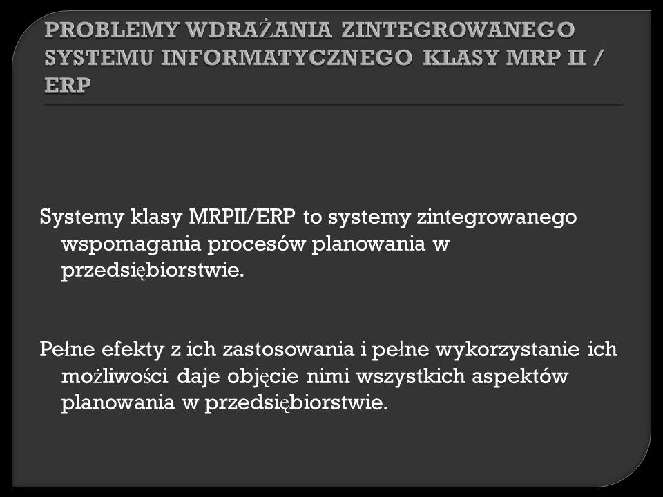 Systemy klasy MRPII/ERP to systemy zintegrowanego wspomagania procesów planowania w przedsi ę biorstwie.