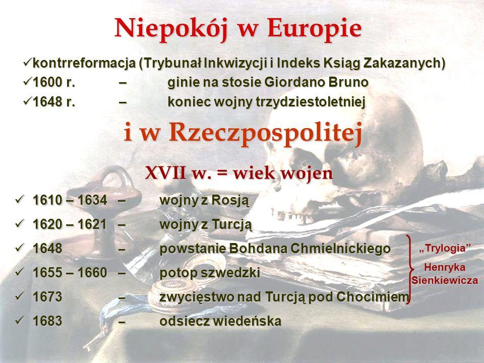 Niepokój w Europie kontrreformacja (Trybunał Inkwizycji i Indeks Ksiąg Zakazanych) kontrreformacja (Trybunał Inkwizycji i Indeks Ksiąg Zakazanych) 160