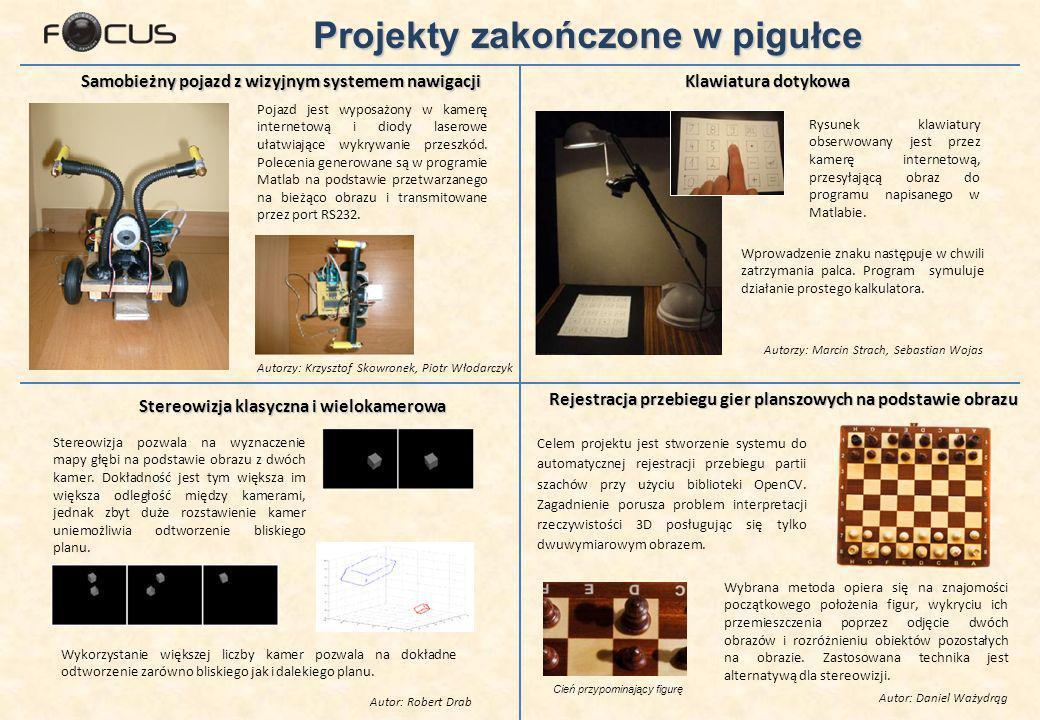 Samobieżny pojazd z wizyjnym systemem nawigacji Autorzy: Krzysztof Skowronek, Piotr Włodarczyk Pojazd jest wyposażony w kamerę internetową i diody laserowe ułatwiające wykrywanie przeszkód.
