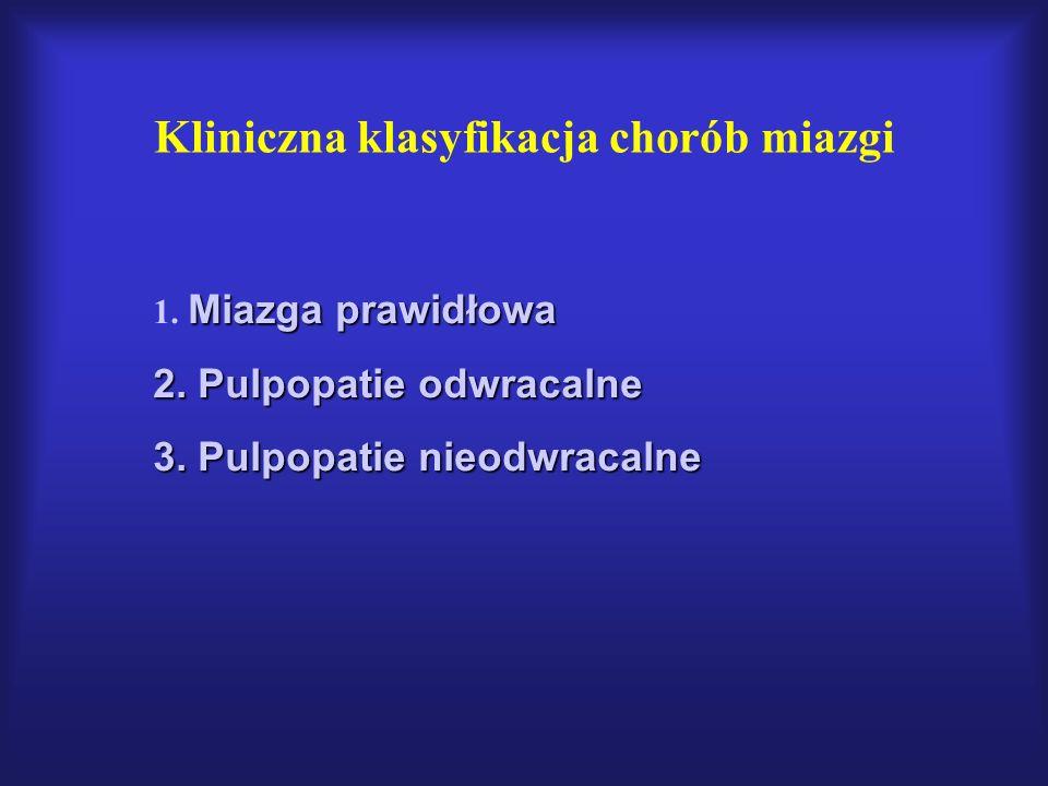 Kliniczna klasyfikacja chorób miazgi Miazga prawidłowa 1. Miazga prawidłowa 2. Pulpopatie odwracalne 3. Pulpopatie nieodwracalne
