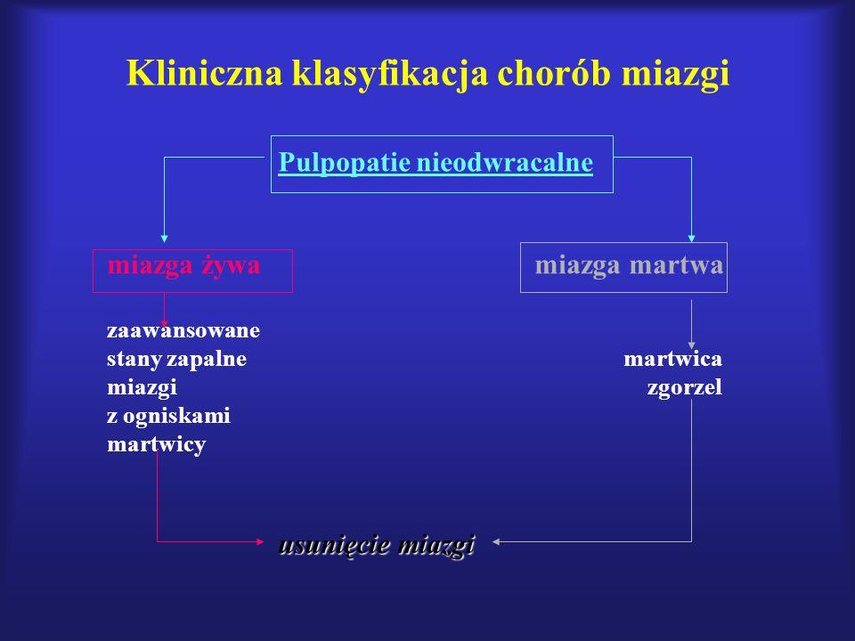 Kliniczna klasyfikacja chorób miazgi Pulpopatie nieodwracalne miazga żywamiazga martwa zaawansowane stany zapalne martwica miazgi zgorzel z ogniskami