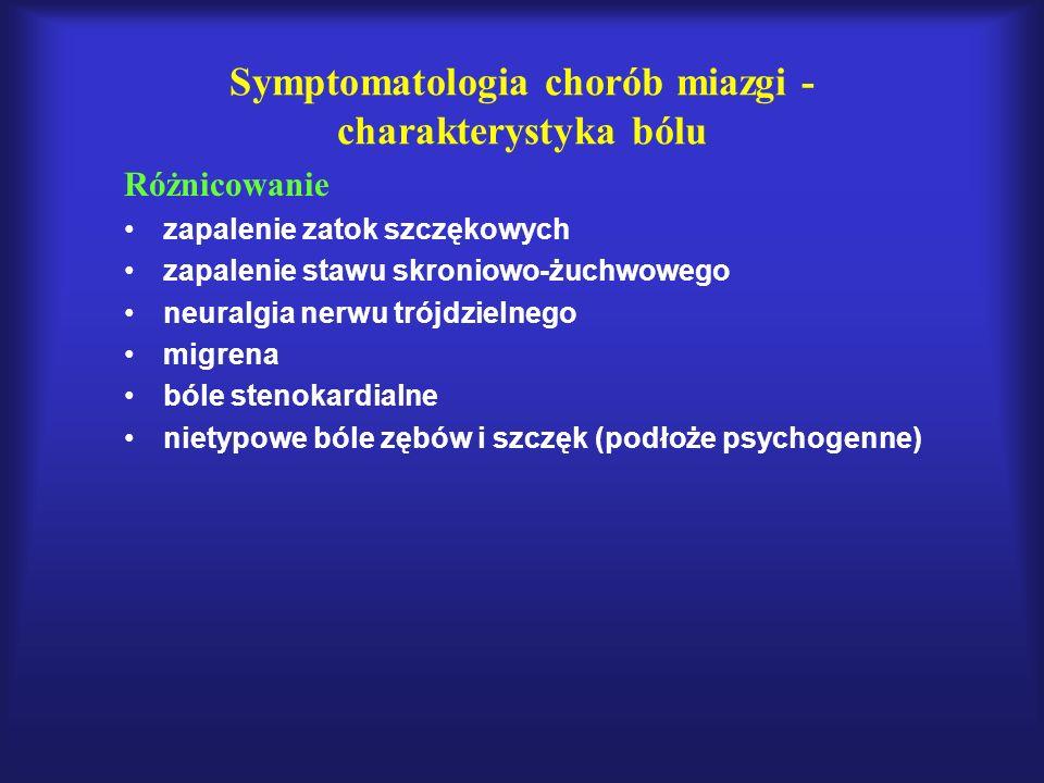 Symptomatologia chorób miazgi - charakterystyka bólu Różnicowanie zapalenie zatok szczękowych zapalenie stawu skroniowo-żuchwowego neuralgia nerwu tró