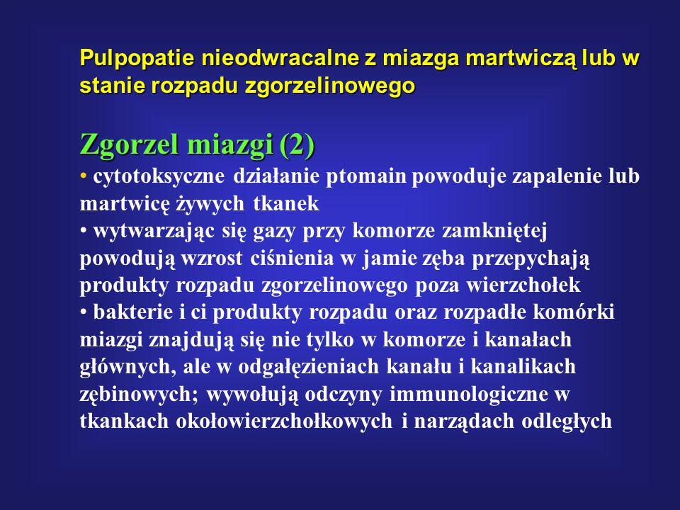 Pulpopatie nieodwracalne z miazga martwiczą lub w stanie rozpadu zgorzelinowego Zgorzel miazgi (2) cytotoksyczne działanie ptomain powoduje zapalenie