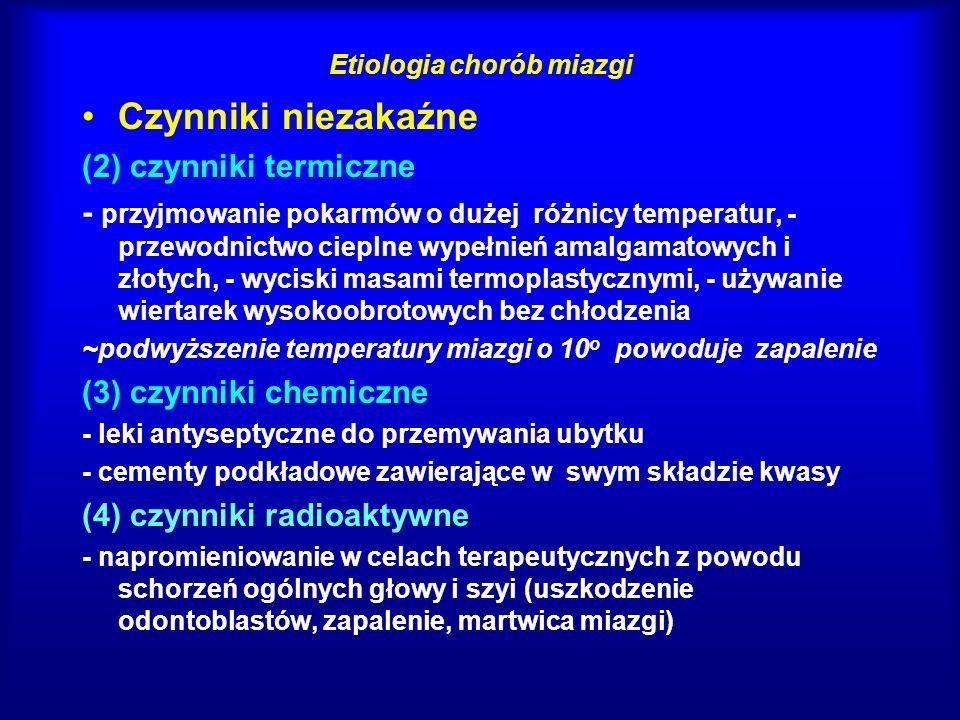 Symptomatologia chorób miazgi - charakterystyka bólu Różnicowanie zapalenie zatok szczękowych zapalenie stawu skroniowo-żuchwowego neuralgia nerwu trójdzielnego migrena bóle stenokardialne nietypowe bóle zębów i szczęk (podłoże psychogenne)