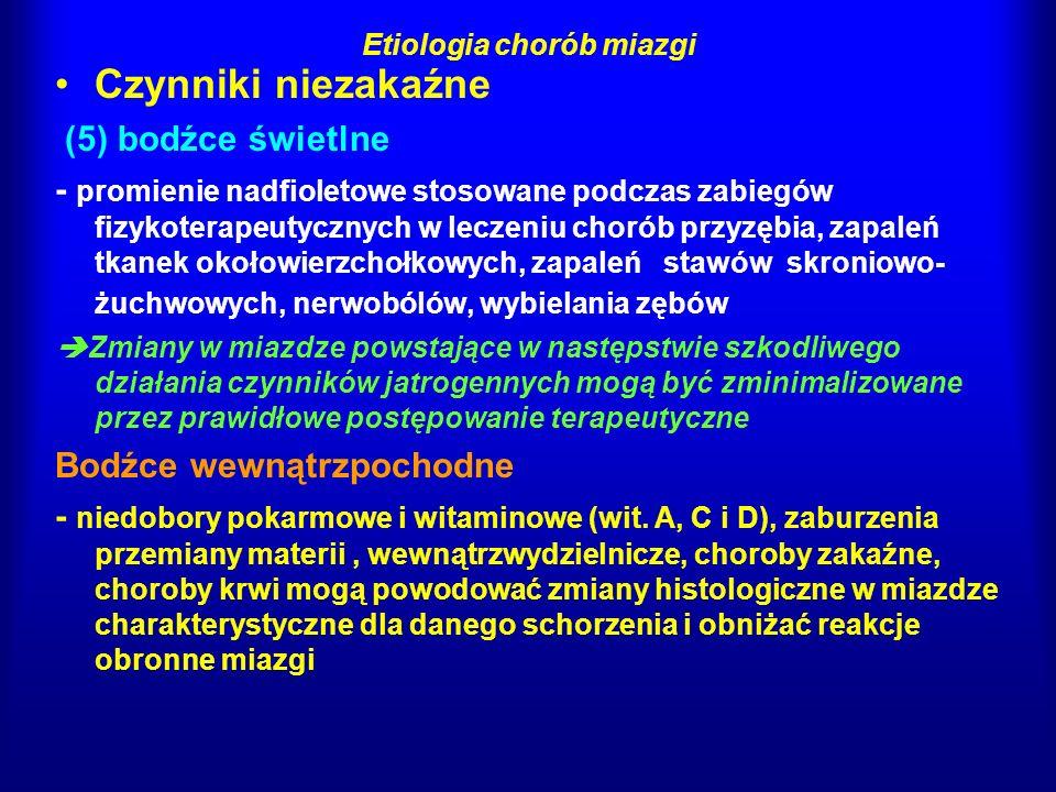 Patogeneza chorób miazgi proces zapalny w miazdze rozwija się podobnie jak w innych tkankach bakterie nie osiedlają się w żywej miazdze i nie wywołują zapalenia, lecz produkty ich metabolizmu - enzymy, chemotoksyny i endotoksyny czynniki chemotaktyczne powodują migrację z naczyń leukocytów, PMN(granulocyty), monocytów i limfocytów ; monocyty rozpoznają w miazdze produkty bakteryjne i rozpoczynają działanie fagocytarne na tym etapie zapalenie jest jeszcze odwracalne - gdy zostanie usunięty czynnik drażniący, a ubytek zostanie zaopatrzony preparatem odontotropowym i szczelnie zamknięty