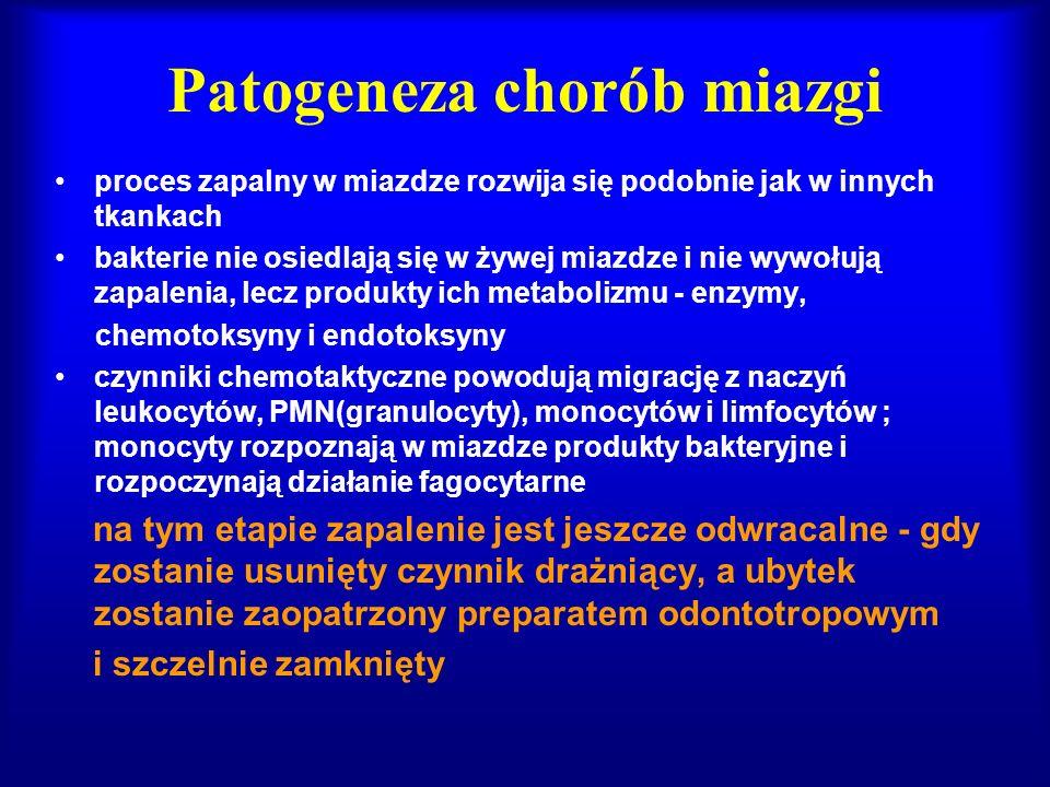 Patogeneza chorób miazgi jeśli czynnik nie zostanie usunięty następuje dalszy rozwój procesu zapalnego przebieg dynamiczny: pojawia się coraz więcej PMN uwalniających, w wyniku ich działania fagocytarnego, enzymy lizosomalne, które niszczą komórki, włókna i substancję podstawową miazgi; powstaje wysięk ropny (przebieg dynamiczny) przebieg przewlekły: w miazdze powstają mikroropnie, które ulegają otorbieniu lub zwapnienieniu, a następstwie pojawiają się komórki zapalenia przewlekłego, limfocyty, komórki plazmatyczne i makrofagi