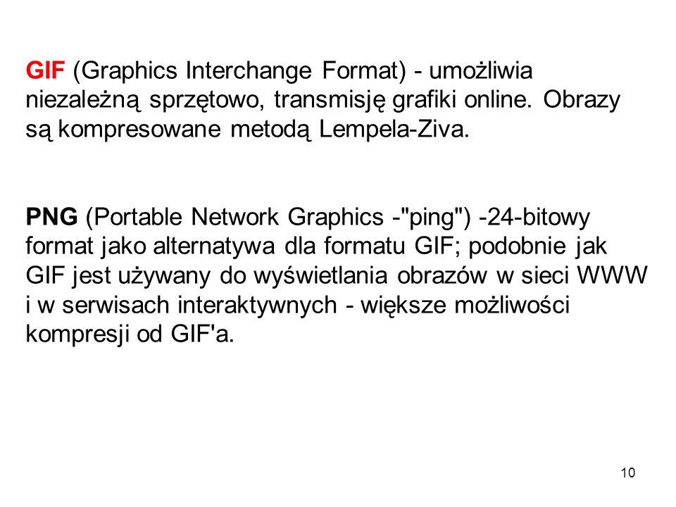 PDF – jest używany przez program Adobe Acrobat, PICT - używany przez programy graficzne jako format pośredni do przesyłania plików między aplikacjami.