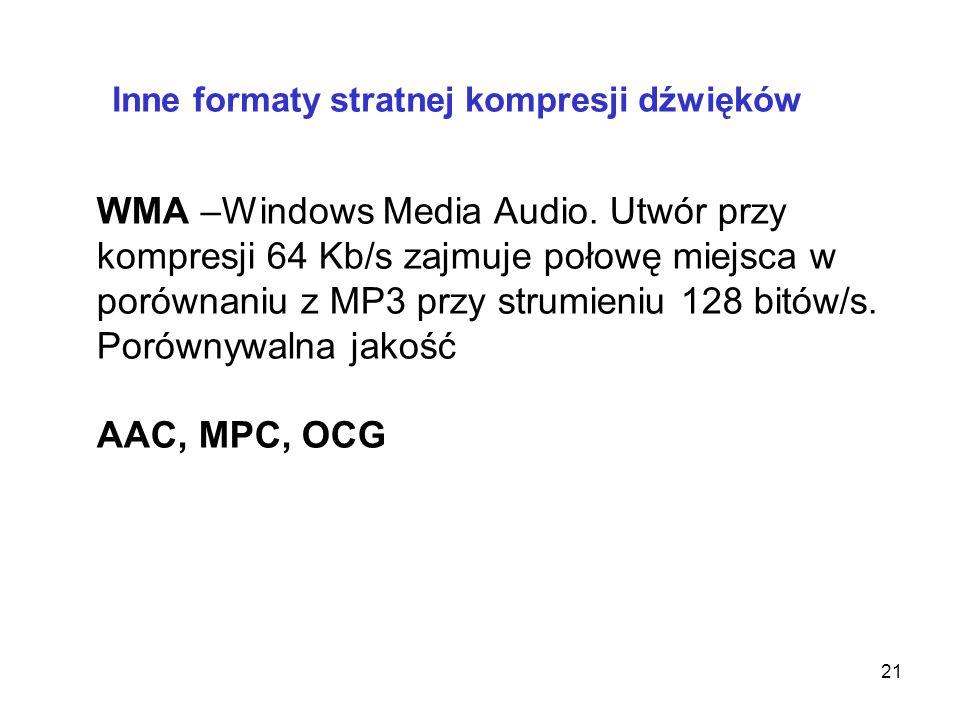 mp3 Kompresja innych mediów kompresja z wkalkulowaną stratą jakości (m.in. usuwanie b. wysokich i b. niskich częstotliwości, cichych dźwięków) 20