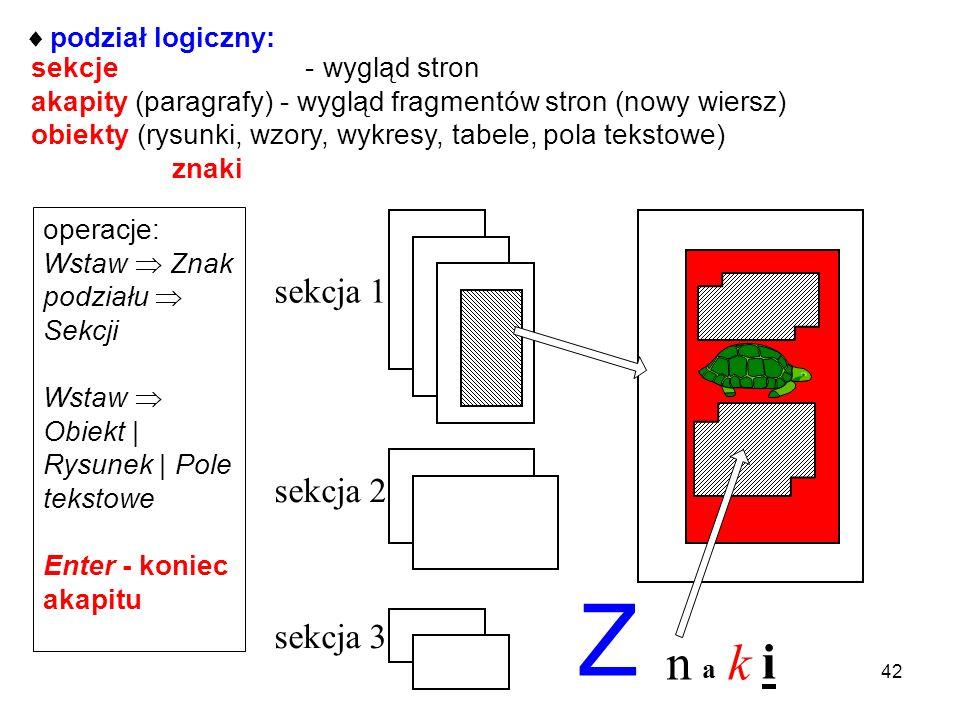 Struktura dokumentu podział fizyczny: plik główny mogą być pliki składowe (wstawiane) 41