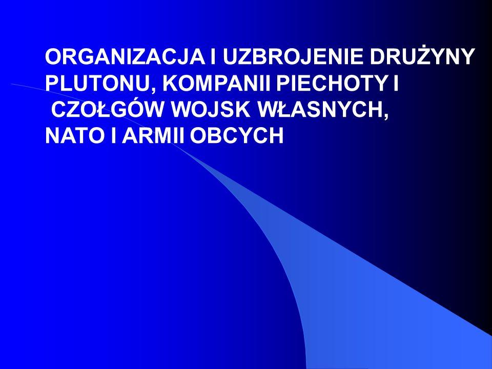 ORGANIZACJA I UZBROJENIE DRUŻYNY PLUTONU, KOMPANII PIECHOTY I CZOŁGÓW WOJSK WŁASNYCH, NATO I ARMII OBCYCH