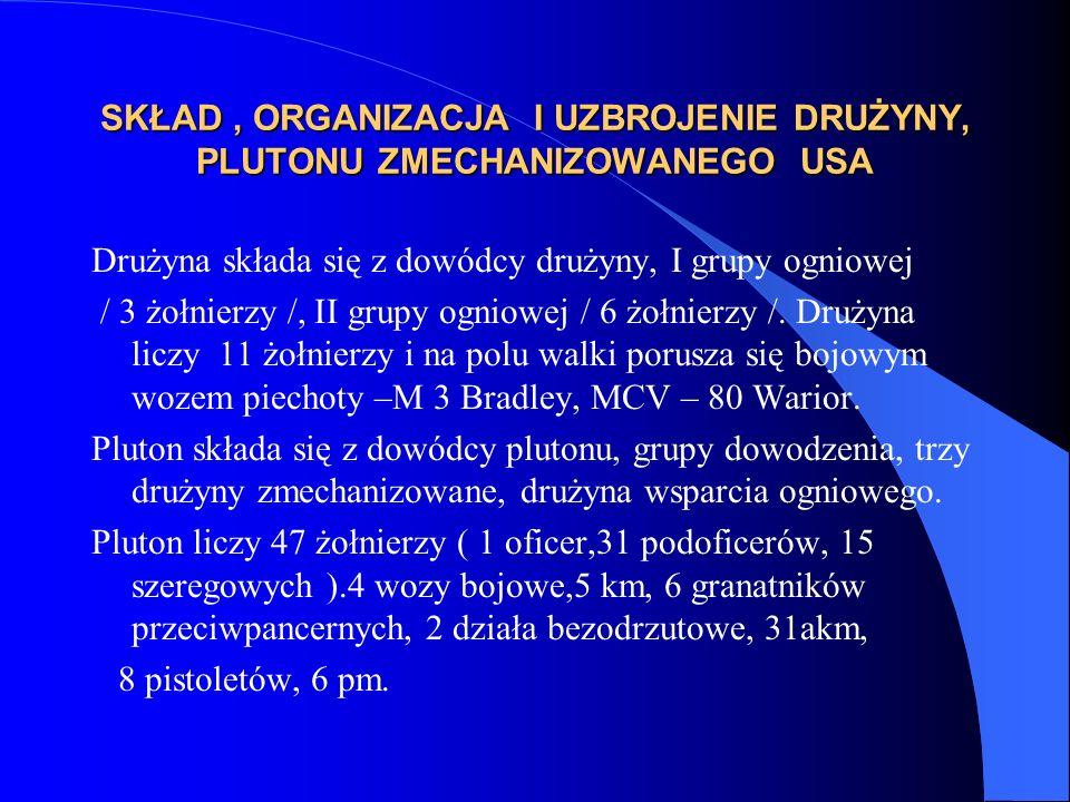 SKŁAD, ORGANIZACJA I UZBROJENIE DRUŻYNY, PLUTONU ZMECHANIZOWANEGO USA Drużyna składa się z dowódcy drużyny, I grupy ogniowej / 3 żołnierzy /, II grupy ogniowej / 6 żołnierzy /.