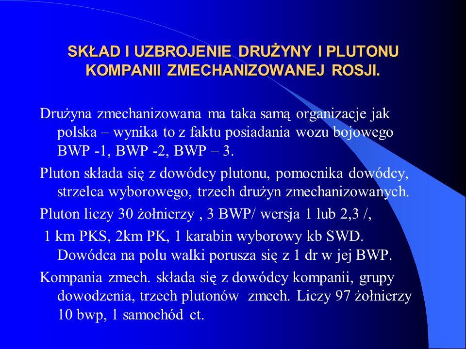 SKŁAD I UZBROJENIE DRUŻYNY I PLUTONU KOMPANII ZMECHANIZOWANEJ ROSJI. Drużyna zmechanizowana ma taka samą organizacje jak polska – wynika to z faktu po
