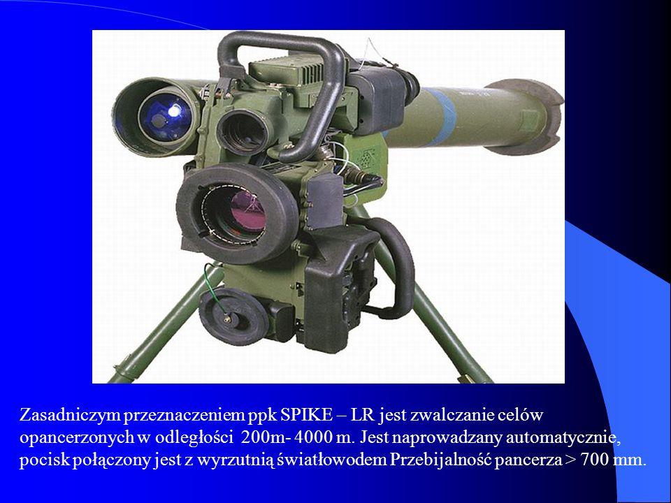 Zasadniczym przeznaczeniem ppk SPIKE – LR jest zwalczanie celów opancerzonych w odległości 200m- 4000 m.