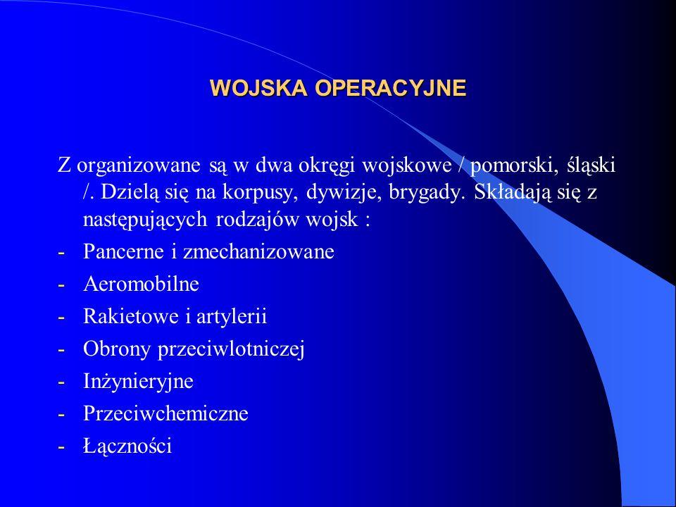 WOJSKA OPERACYJNE Stosując kryterium przeznaczenia i wykonywania zadań wojska te dzielimy na : -Jednostki walczące -/ zmechanizowane, pancerne, aeromobilne, piechota górska; -Jednostki wspierające- rakietowe i artylerii, obrony przeciwlotniczej, inżynieryjne, obrony przeciwchemicznej; -Jednostki wsparcia- dowodzenia, łączności, rozpoznania, walki elektronicznej; -Jednostki logistyczne – zaopatrzenia, techniczne, medyczne, transportowe.