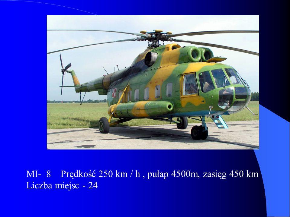 MI- 8 Prędkość 250 km / h, pułap 4500m, zasięg 450 km Liczba miejsc - 24