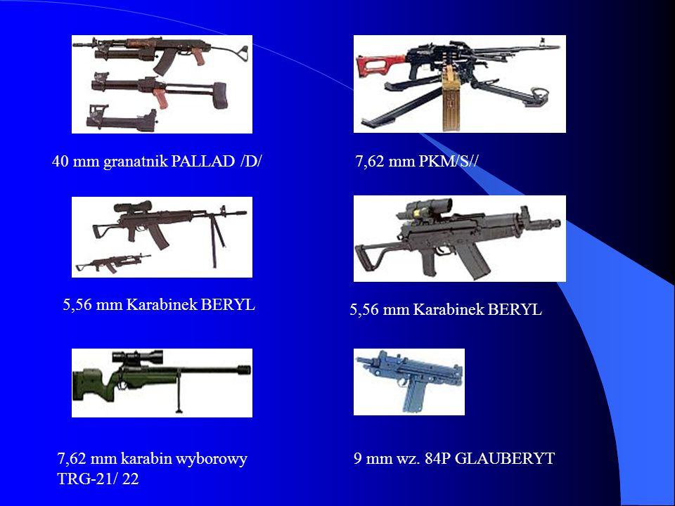 40 mm granatnik PALLAD /D/7,62 mm PKM/S// 5,56 mm Karabinek BERYL 7,62 mm karabin wyborowy TRG-21/ 22 9 mm wz. 84P GLAUBERYT 5,56 mm Karabinek BERYL