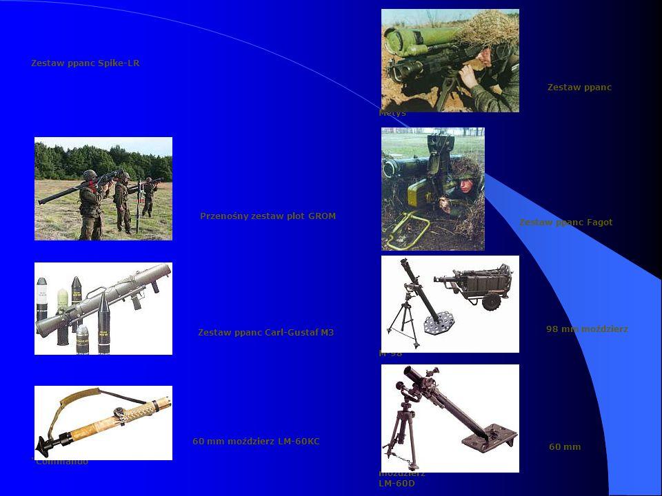 Zestaw ppanc Spike-LR Zestaw ppanc Metys Przenośny zestaw plot GROM Zestaw ppanc Fagot Zestaw ppanc Carl-Gustaf M3 98 mm moździerz M-98 60 mm moździerz LM-60KC Commando 60 mm moździerz LM-60D