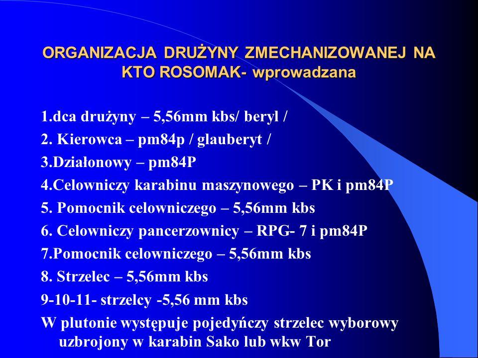 ORGANIZACJA DRUŻYNY ZMECHANIZOWANEJ NA KTO ROSOMAK- wprowadzana 1.dca drużyny – 5,56mm kbs/ beryl / 2.