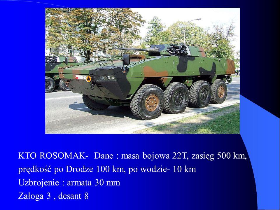 ABRAMS - Dane : masa bojowa 57,1 T, zasięg 470 km, prędkość po szosie 68 km / h, w terenie 48 km/ h.
