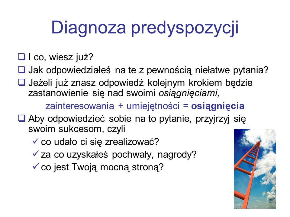 Diagnoza predyspozycji I co, wiesz już? Jak odpowiedziałeś na te z pewnością niełatwe pytania? Jeżeli już znasz odpowiedź kolejnym krokiem będzie zast