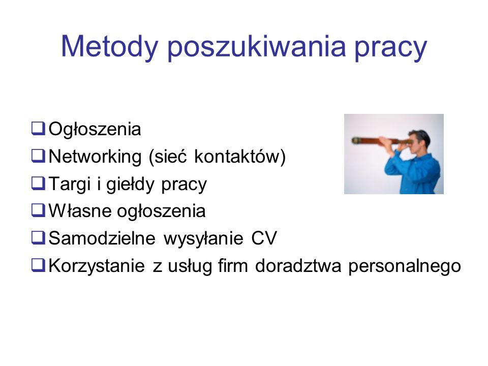 Metody poszukiwania pracy Ogłoszenia Networking (sieć kontaktów) Targi i giełdy pracy Własne ogłoszenia Samodzielne wysyłanie CV Korzystanie z usług f
