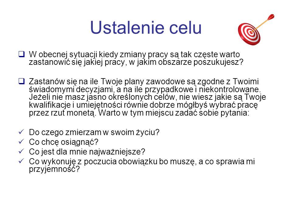 Metody poszukiwania pracy Pomocne strony WWW www.f-a.waw.pl www.praca.pl www.praca.wp.pl www.gratka.pl www.praca.egospodarka.pl www.pracuj.pl www.infopraca.pl www.praca.gazeta.pl www.qpracy.pl www.jobpilot.pl www.praca.interia.pl www.topjobs.pl www.jobs.pl www.praca.onet.pl www.wokolkariery.pl www.jobspot.pl www.praca.wnp.pl www.cvonline.pl