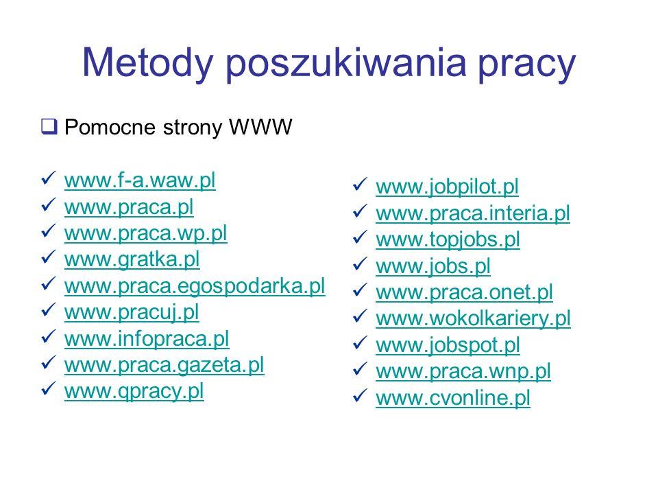 Metody poszukiwania pracy Pomocne strony WWW www.f-a.waw.pl www.praca.pl www.praca.wp.pl www.gratka.pl www.praca.egospodarka.pl www.pracuj.pl www.info