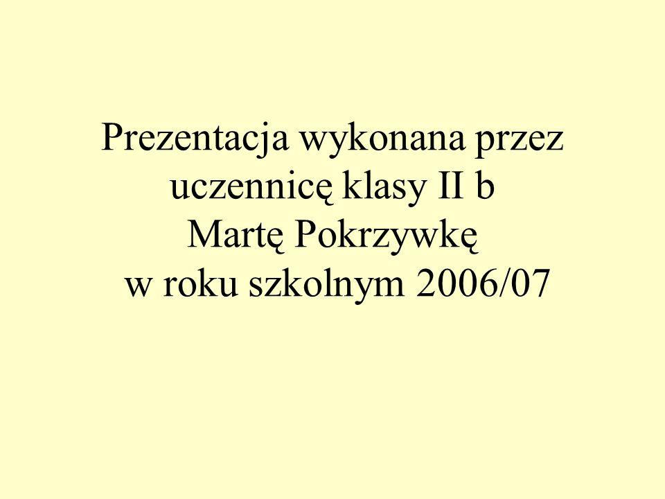 Prezentacja wykonana przez uczennicę klasy II b Martę Pokrzywkę w roku szkolnym 2006/07