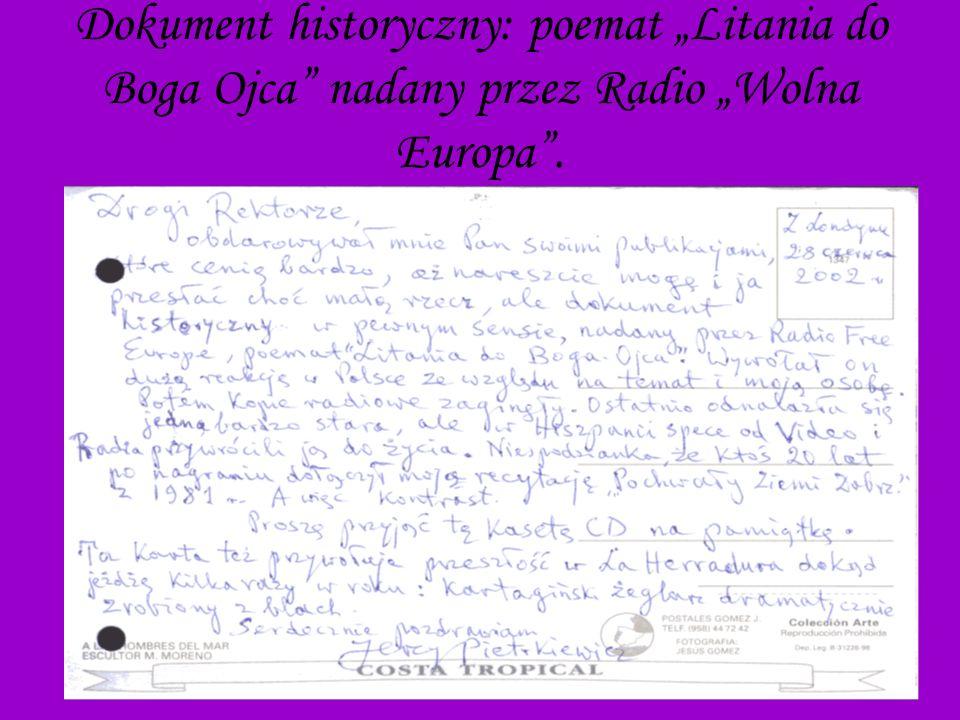 29 Dokument historyczny: poemat Litania do Boga Ojca nadany przez Radio Wolna Europa.