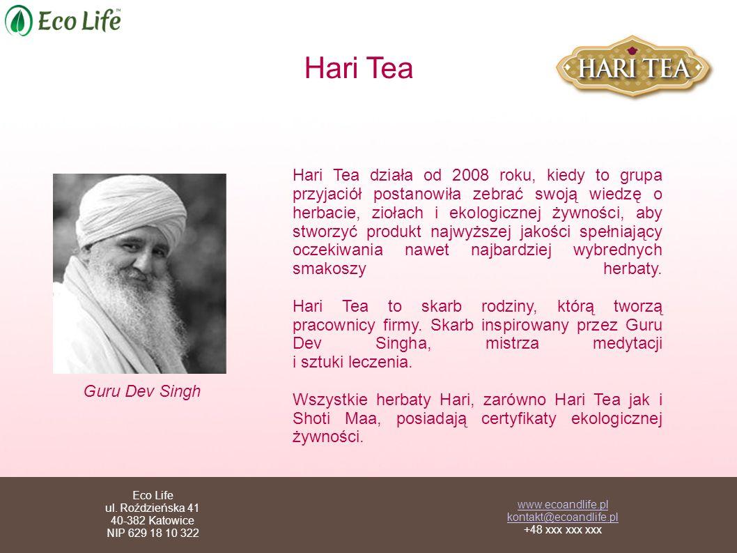 Hari Tea Hari Tea działa od 2008 roku, kiedy to grupa przyjaciół postanowiła zebrać swoją wiedzę o herbacie, ziołach i ekologicznej żywności, aby stworzyć produkt najwyższej jakości spełniający oczekiwania nawet najbardziej wybrednych smakoszy herbaty.