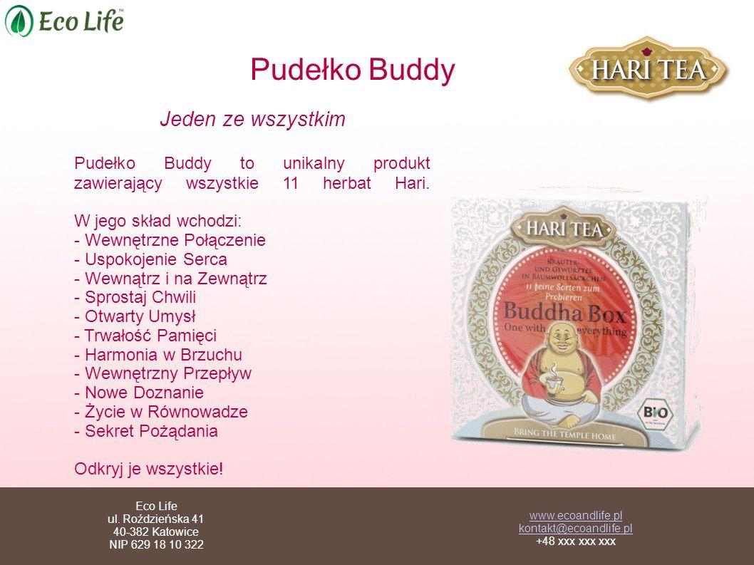 Pudełko Buddy Jeden ze wszystkim Pudełko Buddy to unikalny produkt zawierający wszystkie 11 herbat Hari. W jego skład wchodzi: - Wewnętrzne Połączenie