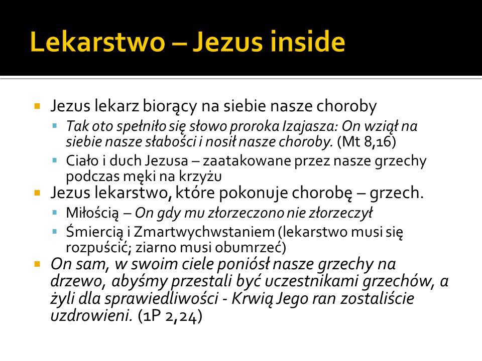 Jezus lekarz biorący na siebie nasze choroby Tak oto spełniło się słowo proroka Izajasza: On wziął na siebie nasze słabości i nosił nasze choroby. (Mt