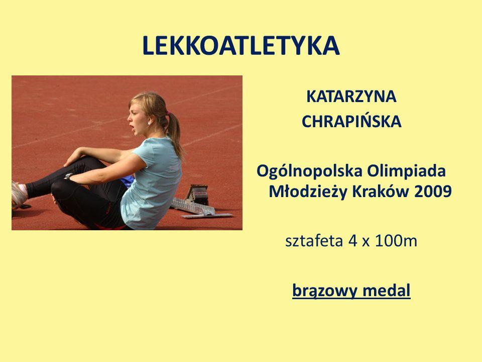 LEKKOATLETYKA KATARZYNA CHRAPIŃSKA Ogólnopolska Olimpiada Młodzieży Kraków 2009 sztafeta 4 x 100m brązowy medal