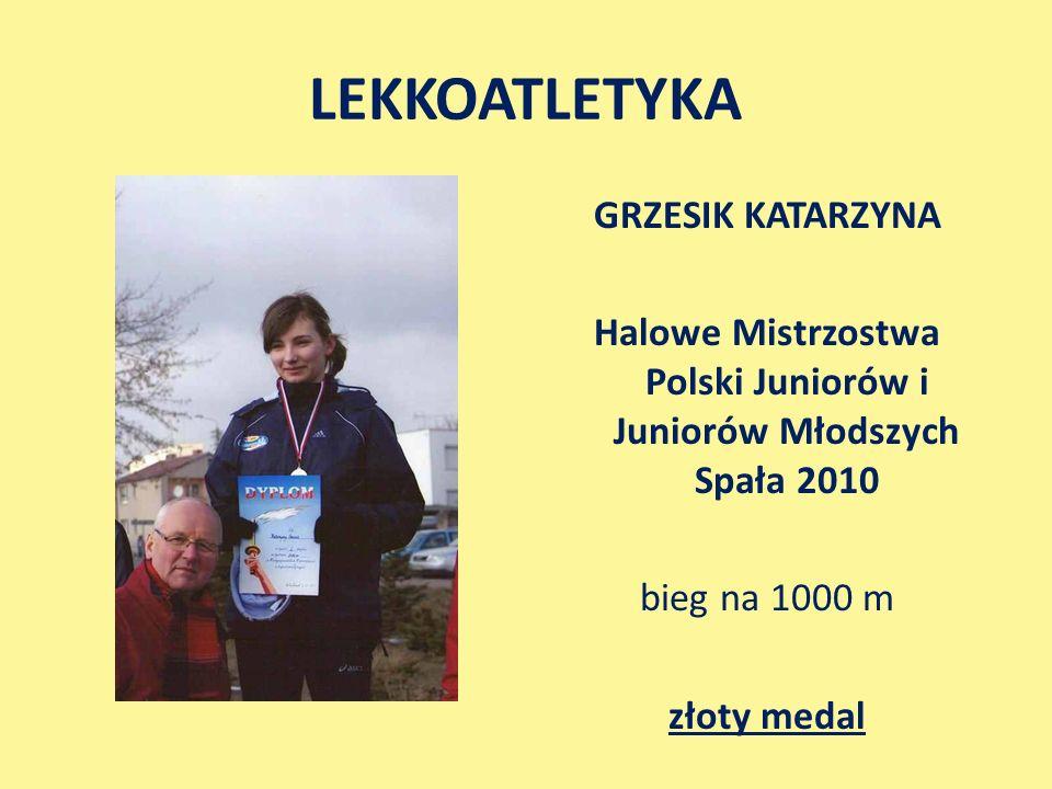 LEKKOATLETYKA GRZESIK KATARZYNA Halowe Mistrzostwa Polski Juniorów i Juniorów Młodszych Spała 2010 bieg na 1000 m złoty medal