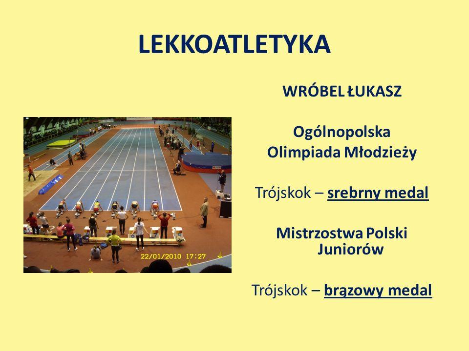 LEKKOATLETYKA WRÓBEL ŁUKASZ Ogólnopolska Olimpiada Młodzieży Trójskok – srebrny medal Mistrzostwa Polski Juniorów Trójskok – brązowy medal