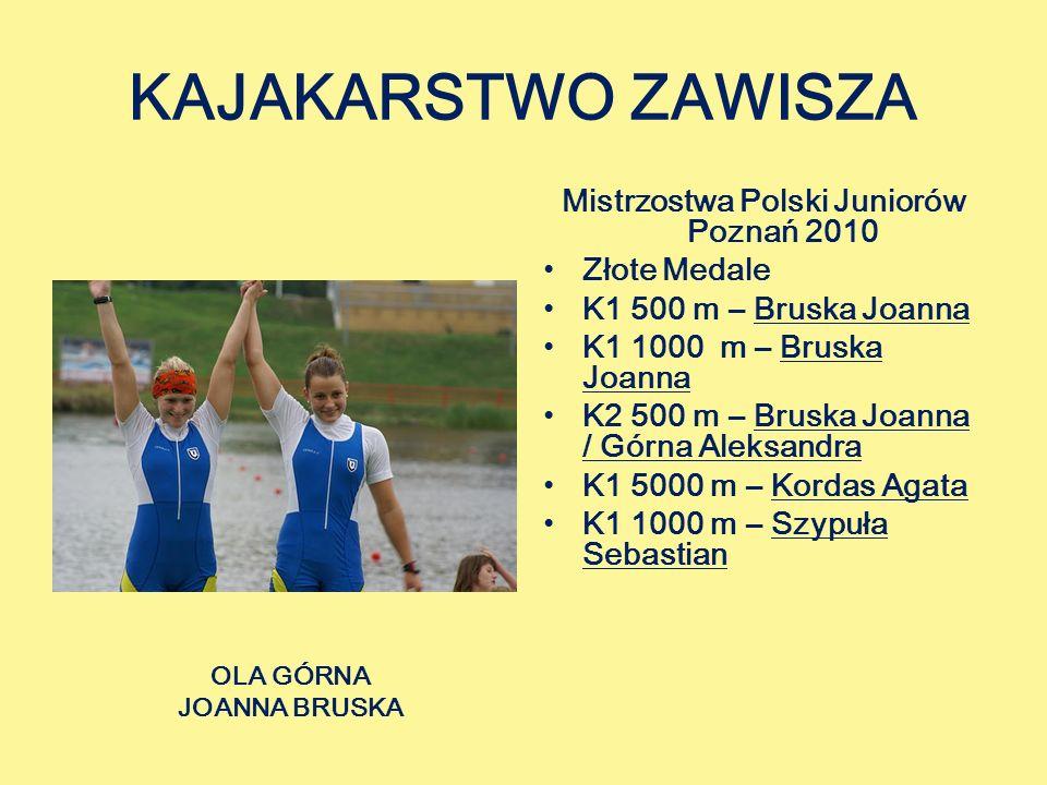 KAJAKARSTWO ZAWISZA Mistrzostwa Polski Juniorów Poznań 2010 Złote Medale K1 500 m – Bruska Joanna K1 1000 m – Bruska Joanna K2 500 m – Bruska Joanna / Górna Aleksandra K1 5000 m – Kordas Agata K1 1000 m – Szypuła Sebastian OLA GÓRNA JOANNA BRUSKA