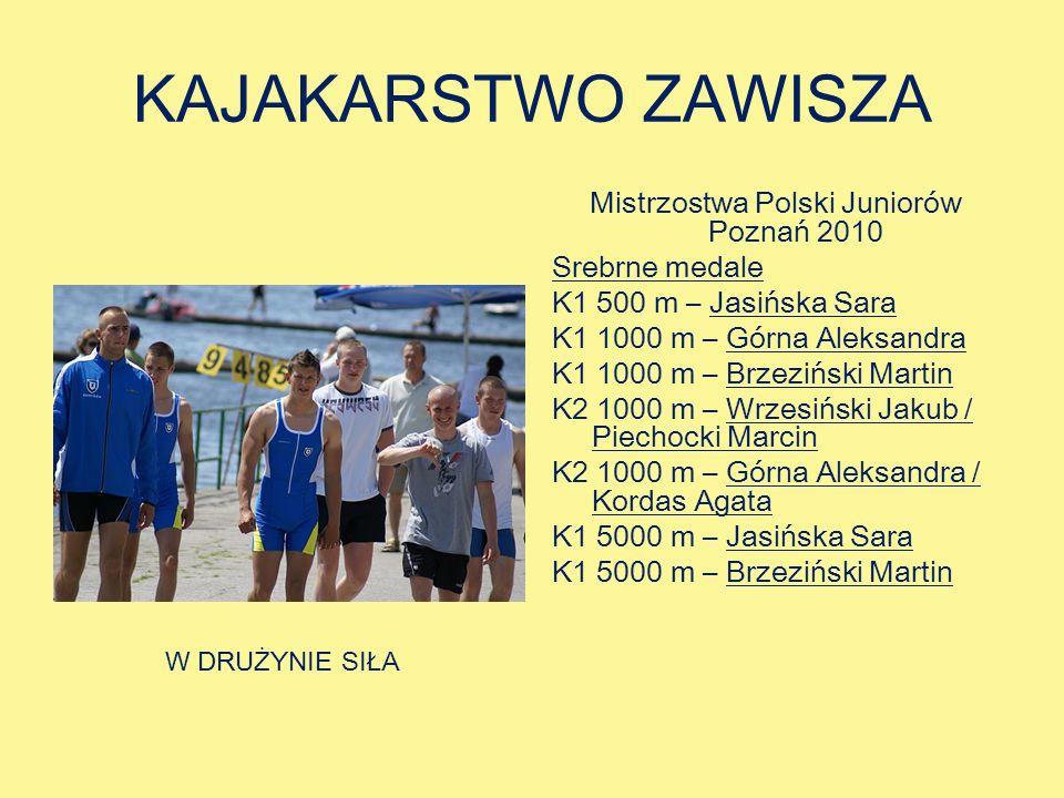 KAJAKARSTWO ZAWISZA Mistrzostwa Polski Juniorów Poznań 2010 Srebrne medale K1 500 m – Jasińska Sara K1 1000 m – Górna Aleksandra K1 1000 m – Brzeziński Martin K2 1000 m – Wrzesiński Jakub / Piechocki Marcin K2 1000 m – Górna Aleksandra / Kordas Agata K1 5000 m – Jasińska Sara K1 5000 m – Brzeziński Martin W DRUŻYNIE SIŁA