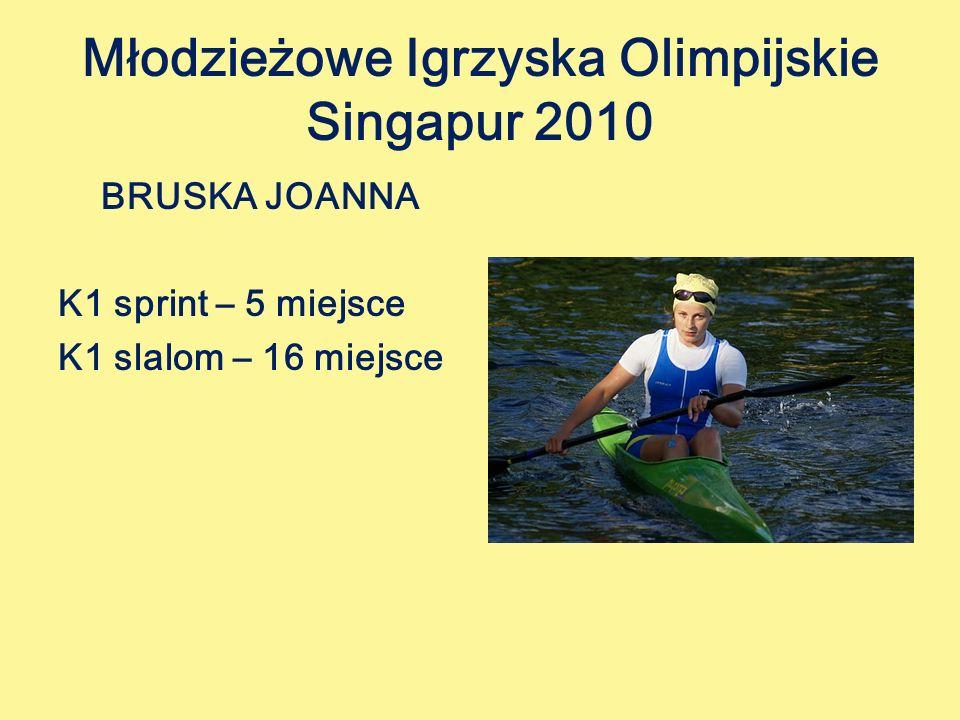 Młodzieżowe Igrzyska Olimpijskie Singapur 2010 BRUSKA JOANNA K1 sprint – 5 miejsce K1 slalom – 16 miejsce