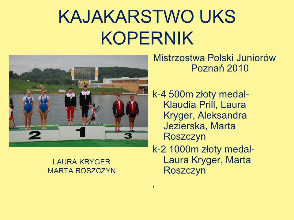 KAJAKARSTWO UKS KOPERNIK Mistrzostwa Polski Juniorów Poznań 2010 k-4 500m złoty medal- Klaudia Prill, Laura Kryger, Aleksandra Jezierska, Marta Roszczyn k-2 1000m złoty medal- Laura Kryger, Marta Roszczyn, LAURA KRYGER MARTA ROSZCZYN