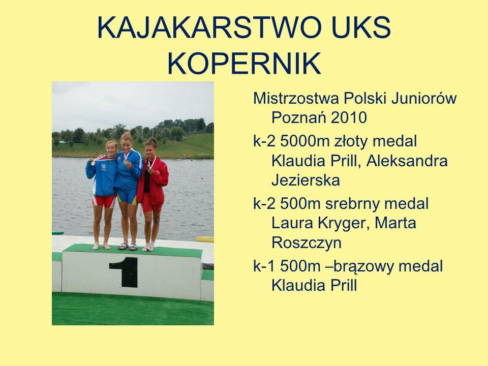 KAJAKARSTWO UKS KOPERNIK Mistrzostwa Polski Juniorów Poznań 2010 k-2 5000m złoty medal Klaudia Prill, Aleksandra Jezierska k-2 500m srebrny medal Laura Kryger, Marta Roszczyn k-1 500m –brązowy medal Klaudia Prill