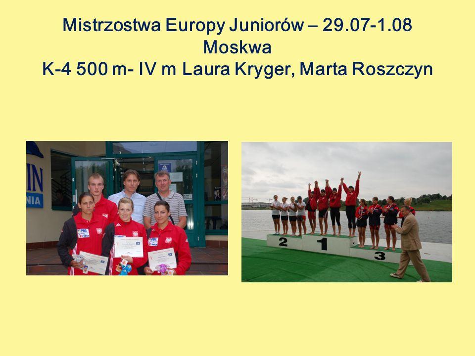 Mistrzostwa Europy Juniorów – 29.07-1.08 Moskwa K-4 500 m- IV m Laura Kryger, Marta Roszczyn