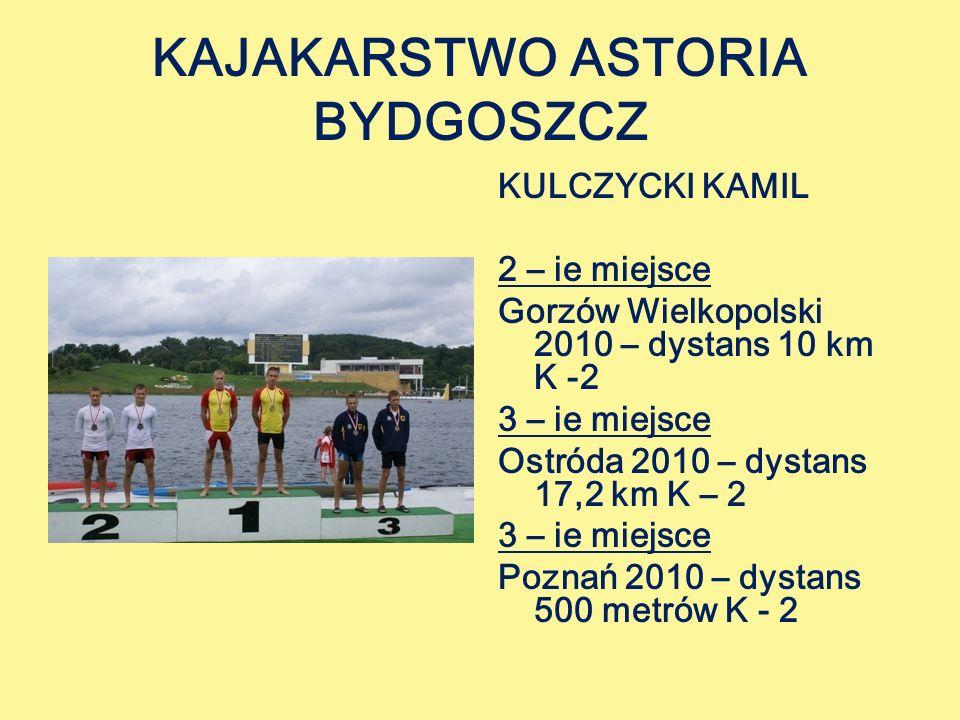 KAJAKARSTWO ASTORIA BYDGOSZCZ KULCZYCKI KAMIL 2 – ie miejsce Gorzów Wielkopolski 2010 – dystans 10 km K -2 3 – ie miejsce Ostróda 2010 – dystans 17,2 km K – 2 3 – ie miejsce Poznań 2010 – dystans 500 metrów K - 2