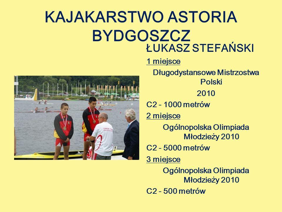 KAJAKARSTWO ASTORIA BYDGOSZCZ ŁUKASZ STEFAŃSKI 1 miejsce Długodystansowe Mistrzostwa Polski 2010 C2 - 1000 metrów 2 miejsce Ogólnopolska Olimpiada Młodzieży 2010 C2 - 5000 metrów 3 miejsce Ogólnopolska Olimpiada Młodzieży 2010 C2 - 500 metrów