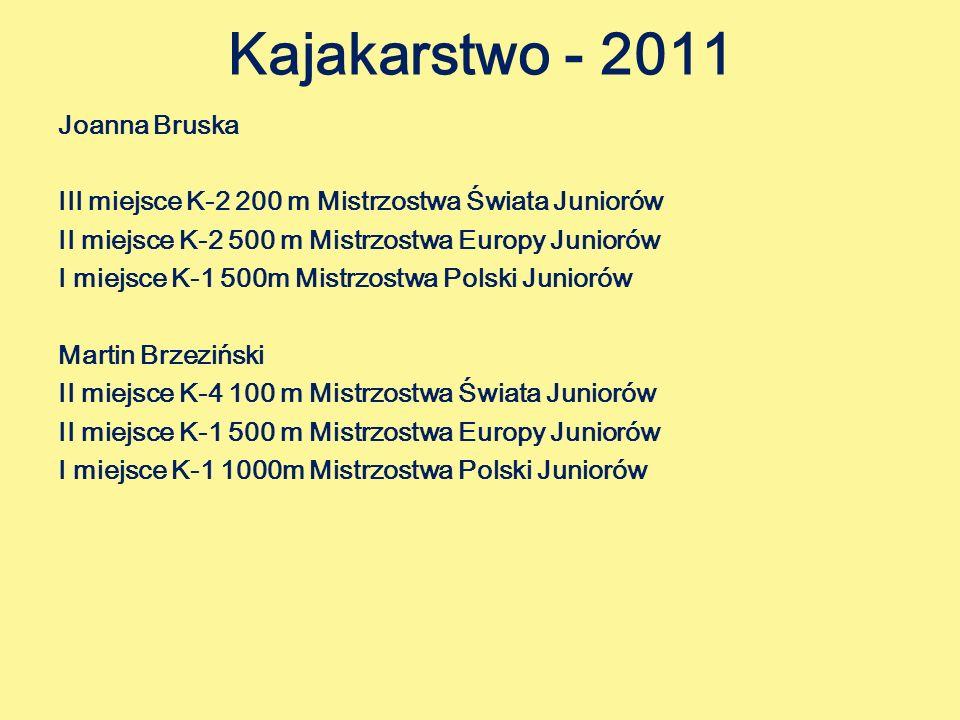 Kajakarstwo - 2011 Joanna Bruska III miejsce K-2 200 m Mistrzostwa Świata Juniorów II miejsce K-2 500 m Mistrzostwa Europy Juniorów I miejsce K-1 500m Mistrzostwa Polski Juniorów Martin Brzeziński II miejsce K-4 100 m Mistrzostwa Świata Juniorów II miejsce K-1 500 m Mistrzostwa Europy Juniorów I miejsce K-1 1000m Mistrzostwa Polski Juniorów